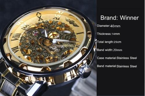 relógio masculino luxo 3bar prova dágua skeleton winner