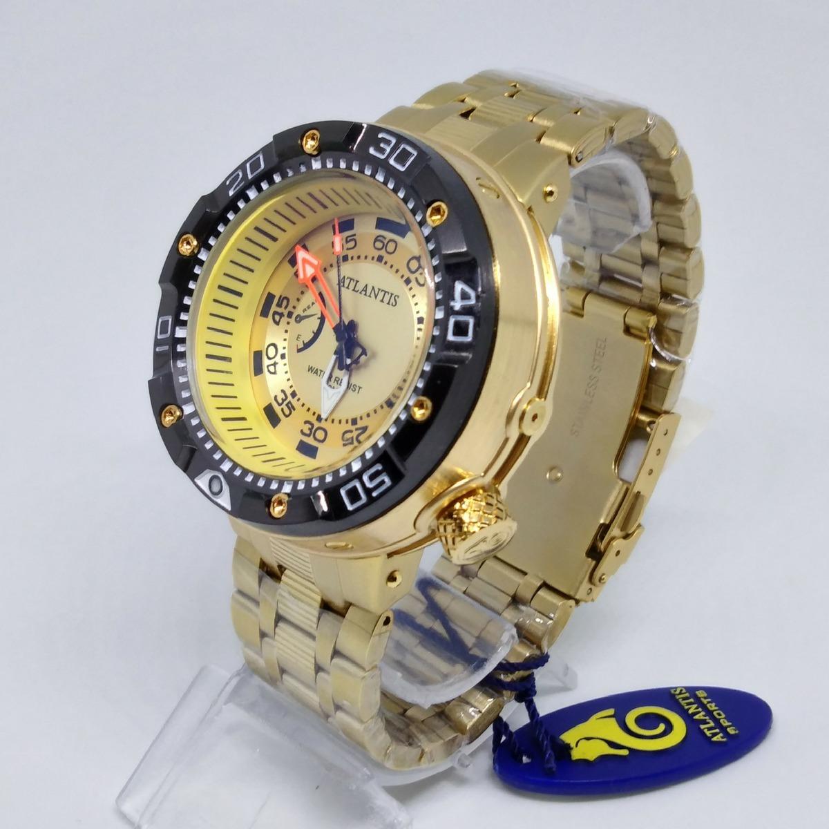 17b6ea3c5e8 relógio masculino luxo analógico dourado original atlantis. Carregando zoom.