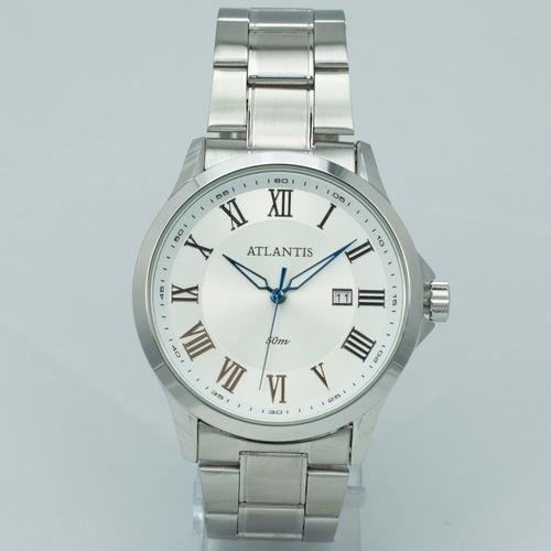 relógio masculino luxo atlantis dourado original elite caixa