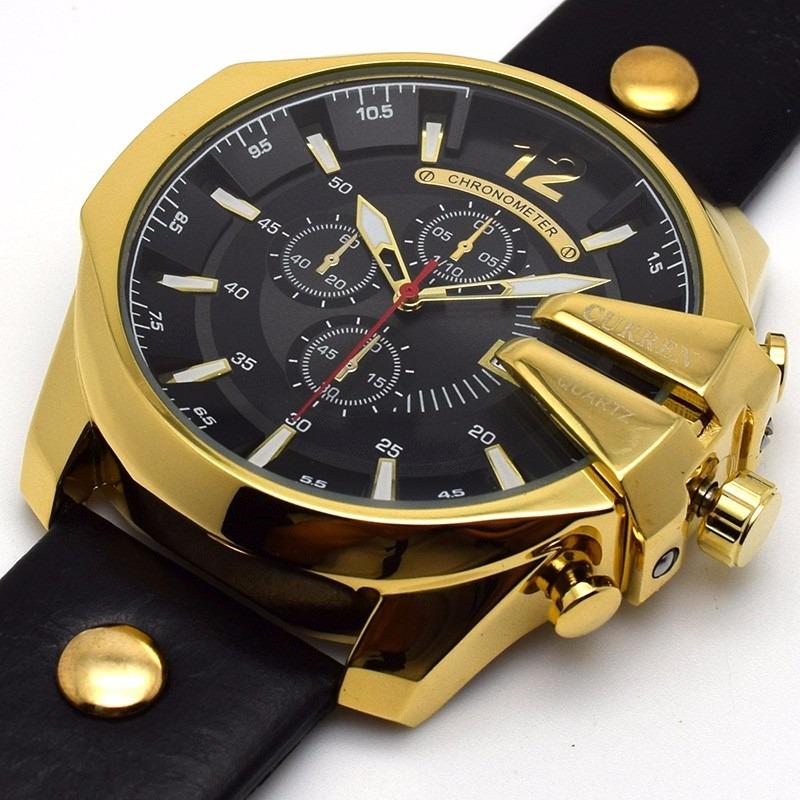 242cff79d8cad relógio masculino luxo curren dourado pulseira de couro. Carregando zoom.
