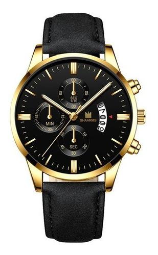 relógio masculino luxo dourado e preto shaarms- envio imediato