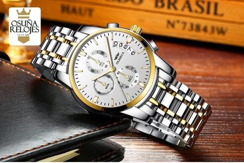 relógio masculino luxo dourado prata pronta entrega