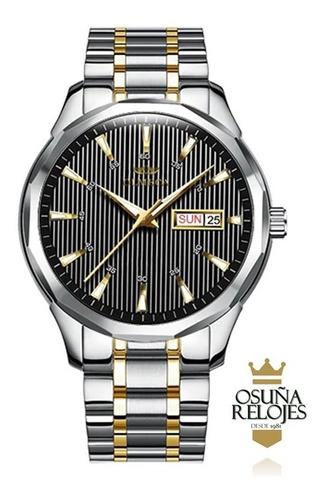relógio masculino luxo original dourado prata azul 0853
