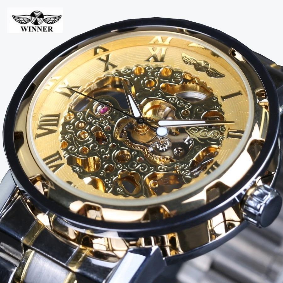 60be21cd415 relógio masculino luxo prova dágua 3 bar skeleton winner. Carregando zoom.