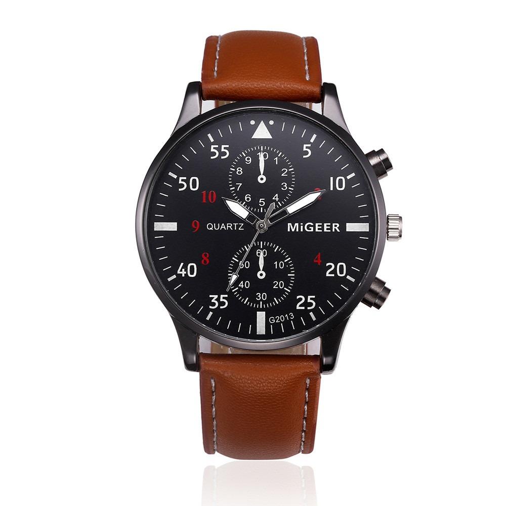 bee7326ed90 relógio masculino luxo pulseira de couro migger executivo. Carregando zoom.