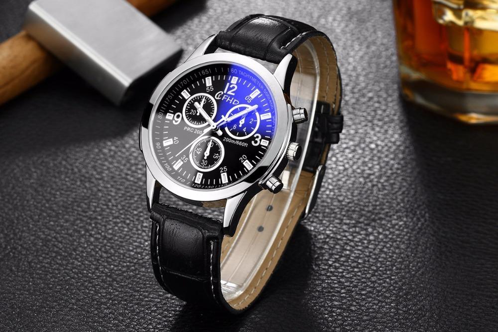 75ce260bbb2 relógio masculino luxo quartzo pulseira couro vidro ray azul. Carregando  zoom.