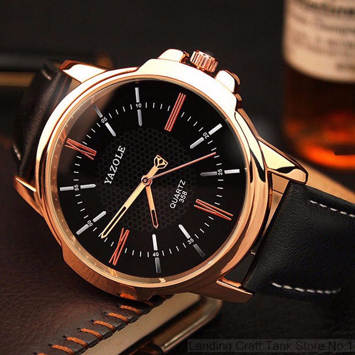 c7941a4c97c relógio masculino luxo yazole pulso social pulseira couro n4. Carregando  zoom.