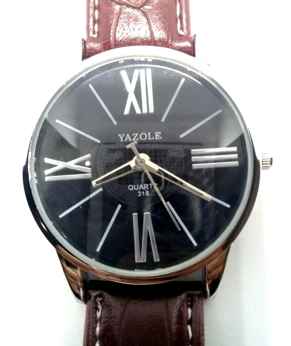 49f017c33a7 relógio masculino luxuoso barato bonito couro marrom social. Carregando zoom .