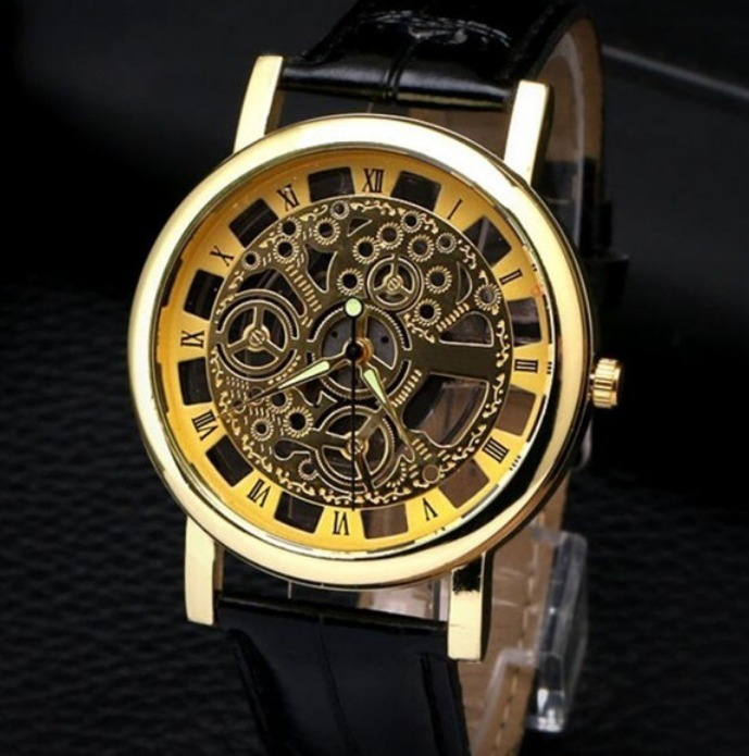s automatic steampunk openwork stauer wrist leather on band shshd silver watches face p men item black watch dashtronic