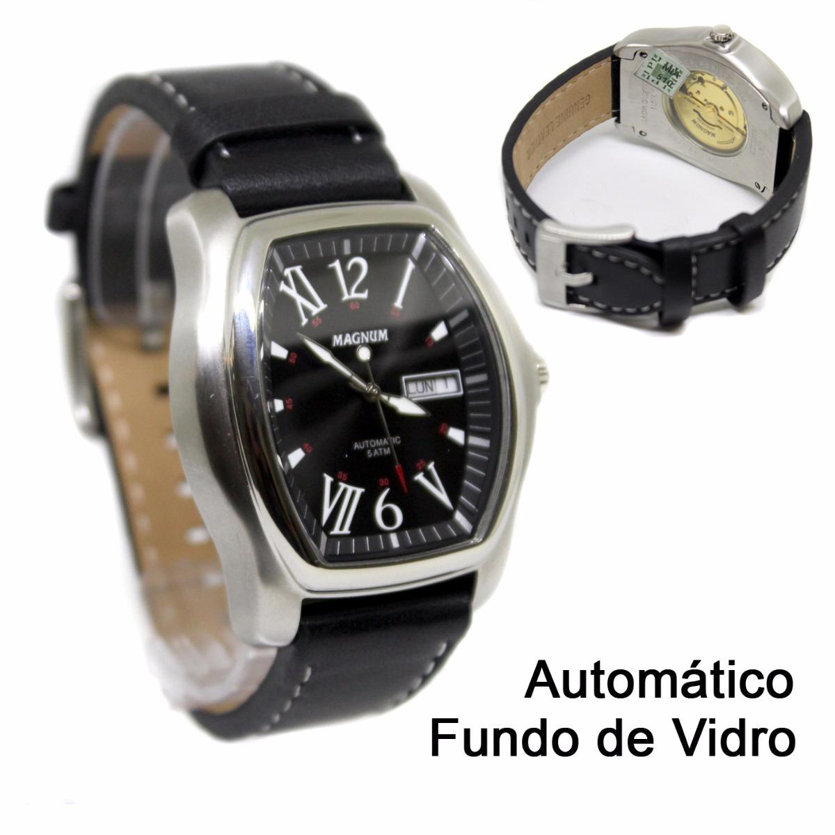 5ba5dc068ab relógio masculino magnum automático pulseira couro ma21071t. Carregando  zoom.