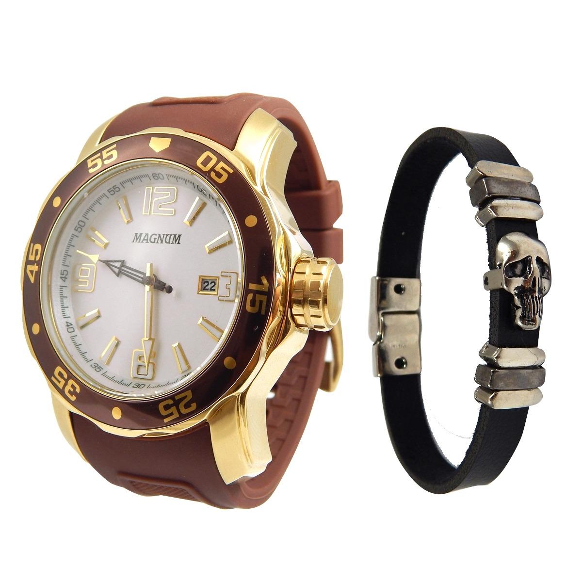 f9b5a7eb31 relogio masculino magnum marrom kit com pulseira de couro ma. Carregando  zoom.