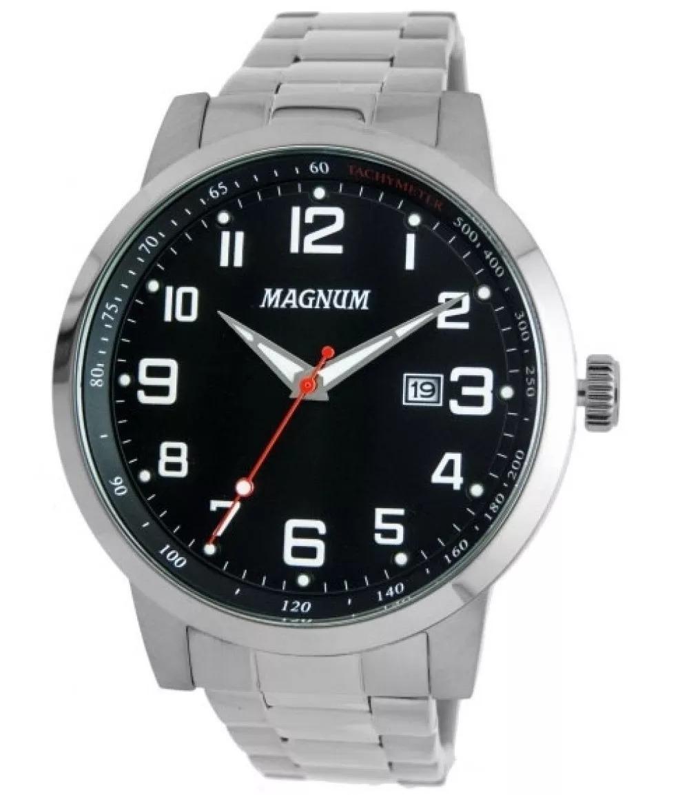 eb8e9ef00 relogio masculino magnum pulseira aço fundo preto oferta. Carregando zoom.