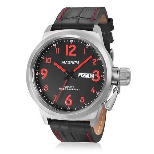 relogio masculino magnum pulseira de couro  ma33415v- barato