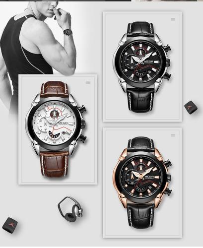 9a125181ff8 relógio megir masculino de luxo marca famosa quartz preto. Carregando zoom...  relógio masculino marca