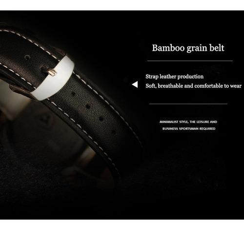 relógio masculino marrom yazole couro quartz barato promoç