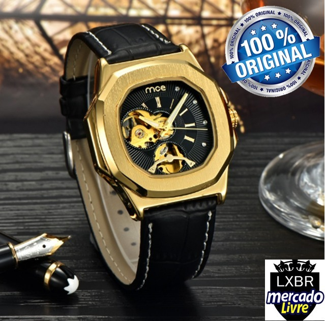 11083879d44 Relogio Masculino Mce Couro Dourado Automatico R06b Lxbr - R  198