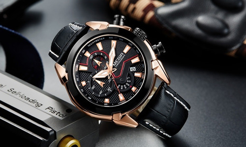 relógio masculino megir 2065g luxo inoxidável couro original