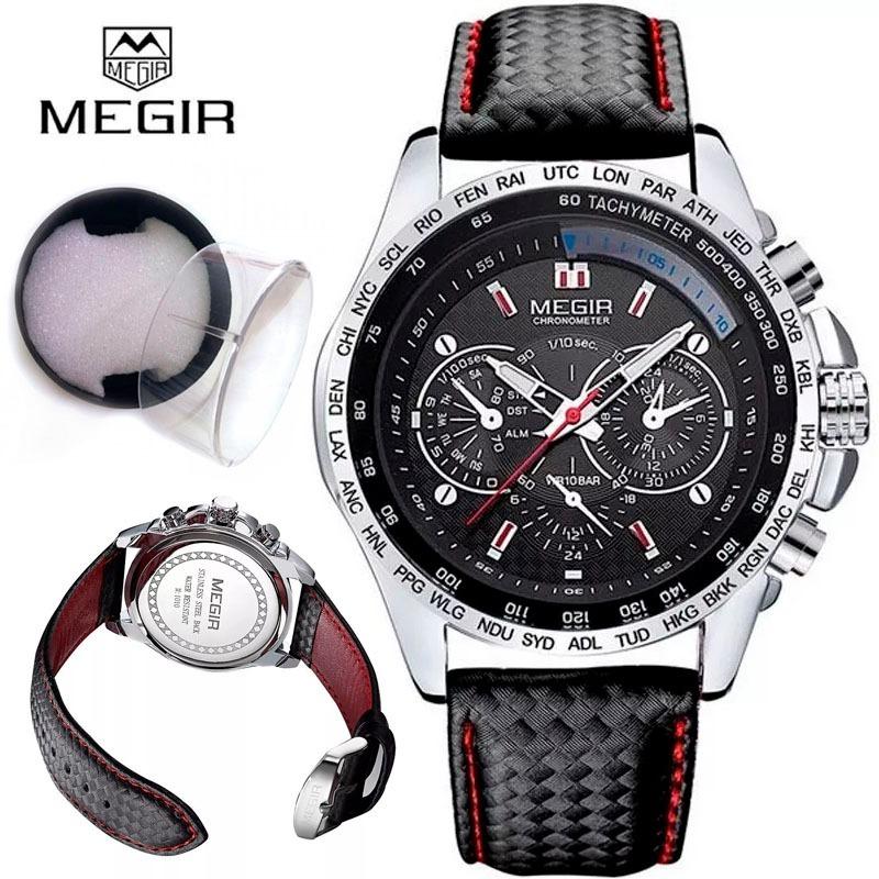 114390f5de0 relógio masculino megir casual de luxo-pulseira de couro cx. Carregando  zoom.