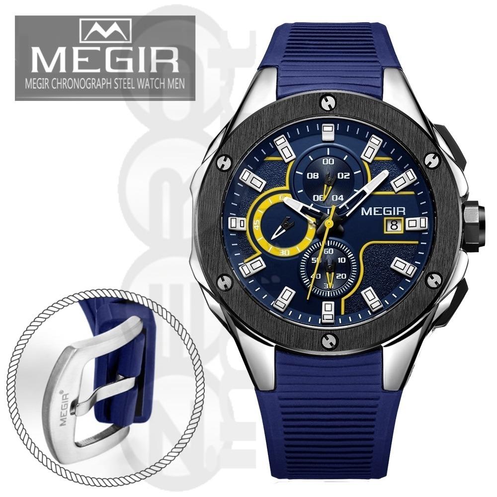 f1cfb51ee94 Relógio Masculino Megir M 2053 Cronógrafo 3 Atm Puls. Azul - R  178 ...