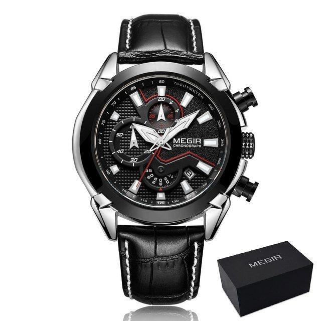 Relógio Masculino Megir Original Luxo Com Cronógrafo Preto - R  215 ... 8752ef5bf9