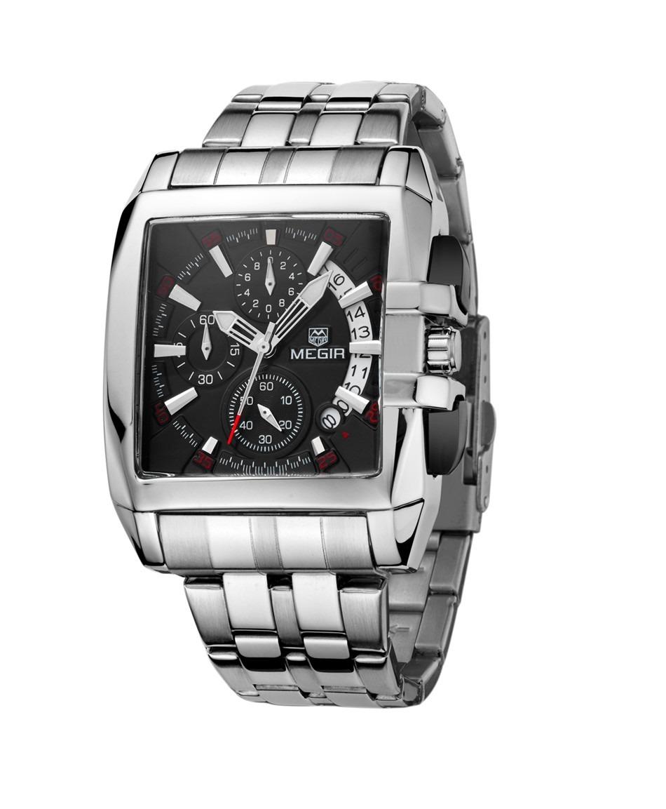 ac178878bcded relógio masculino megir prata com preto modelo megir 2018. Carregando zoom.