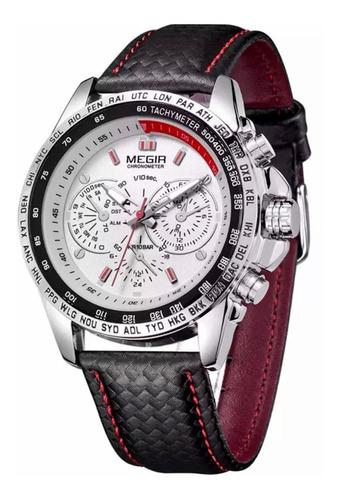 relógio masculino megir quartz branco pulseira couro origina