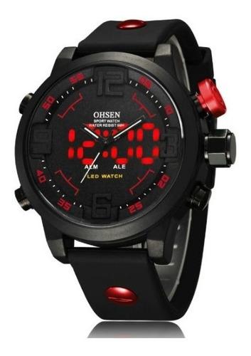 relógio masculino militar analógico digital led oshen vermelho