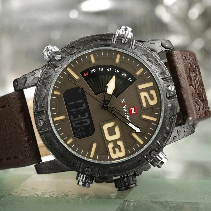 12c096dc6c6 Relógio Masculino Militar Couro Naviforce 9095 Original - R  120