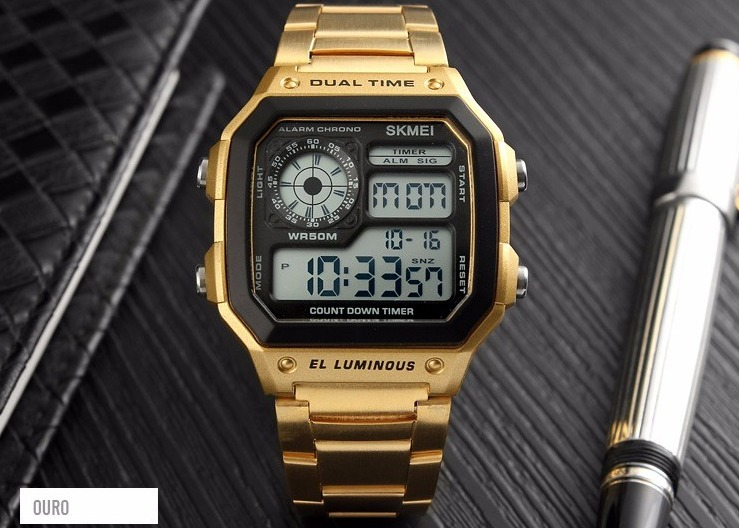 55f43069692 Relógio Masculino Militar Dourado Digital Skmei - R  99
