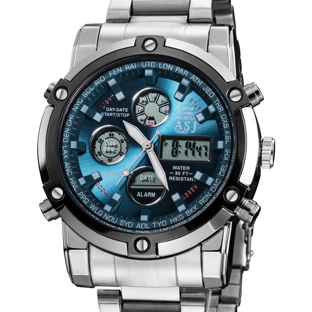 eaa0bf7b63d relógio masculino militar esportivo digital aço asj original. Carregando  zoom.