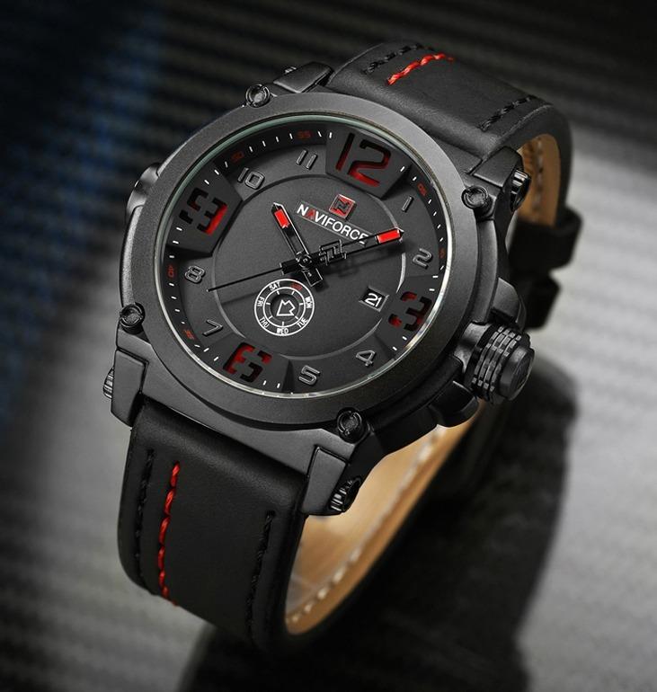 2bfe0f4fd02 Relógio Masculino Militar Esportivo Naviforce Couro Original - R ...