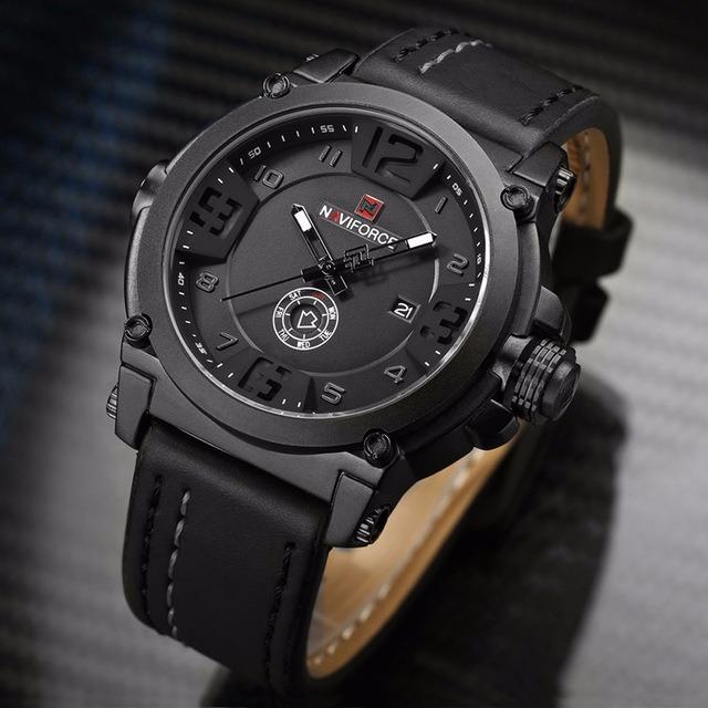 8355a4ef8de16 Relógio Masculino Militar Esportivo Naviforce Pulseira Couro - R ...