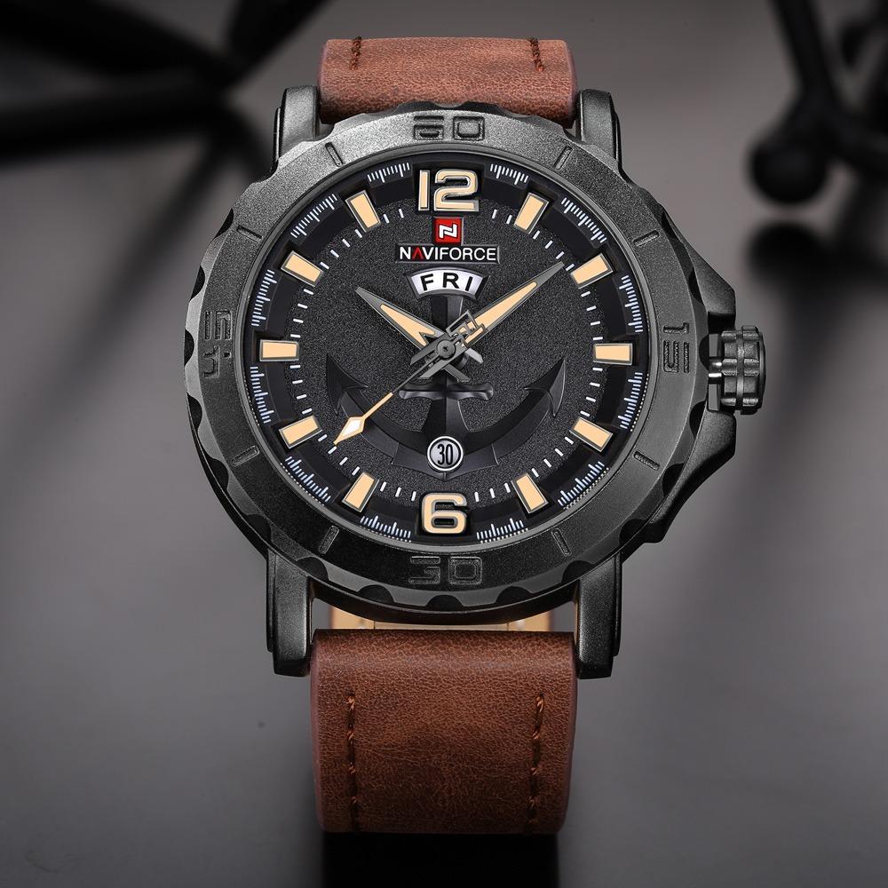 15ef9621e8f relógio masculino militar esportivo naviforce pulseira couro. Carregando  zoom.