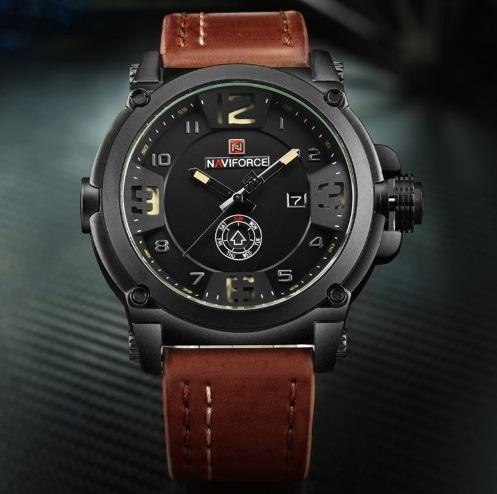 92f123fc643 Relógio Masculino Militar Esportivo Naviforce Pulseira Couro - R  129