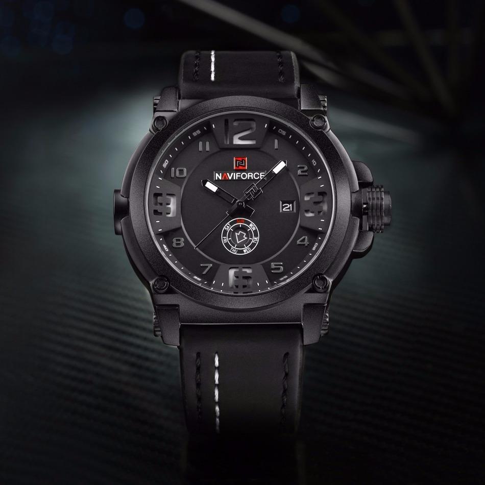 8e16529bef6 relógio masculino militar esportivo naviforce pulseira couro. Carregando  zoom.