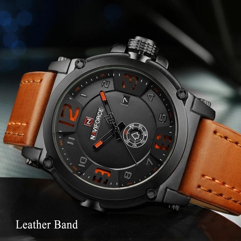 56ba6ead447fb relógio masculino militar esportivo naviforce pulseira couro. Carregando  zoom.