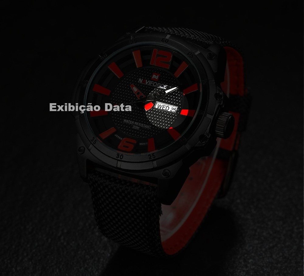 f8b860d82be relógio masculino militar esportivo pulseira nylon naviforce. Carregando  zoom.