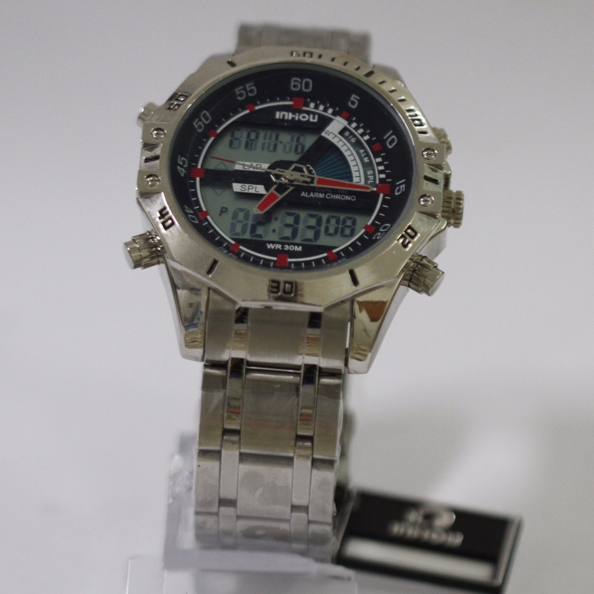 34bec938c5e Relógio Masculino Militar Inhou 1308 Aço Inox A Prova D água - R  78 ...