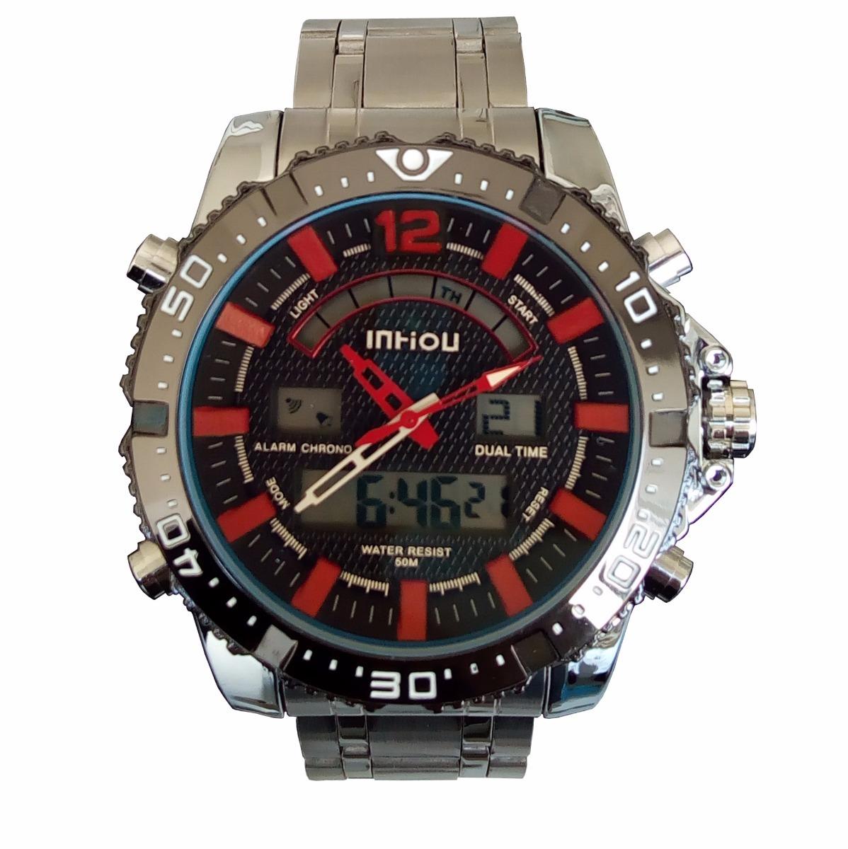 197b5638ee7 Relógio Masculino Militar Inhou 8010 Aço Inox Prova D água - R  120 ...