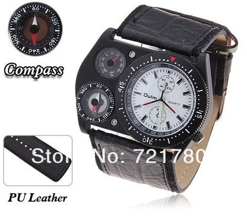 relógio masculino militar oulm marrom termômetro bússola