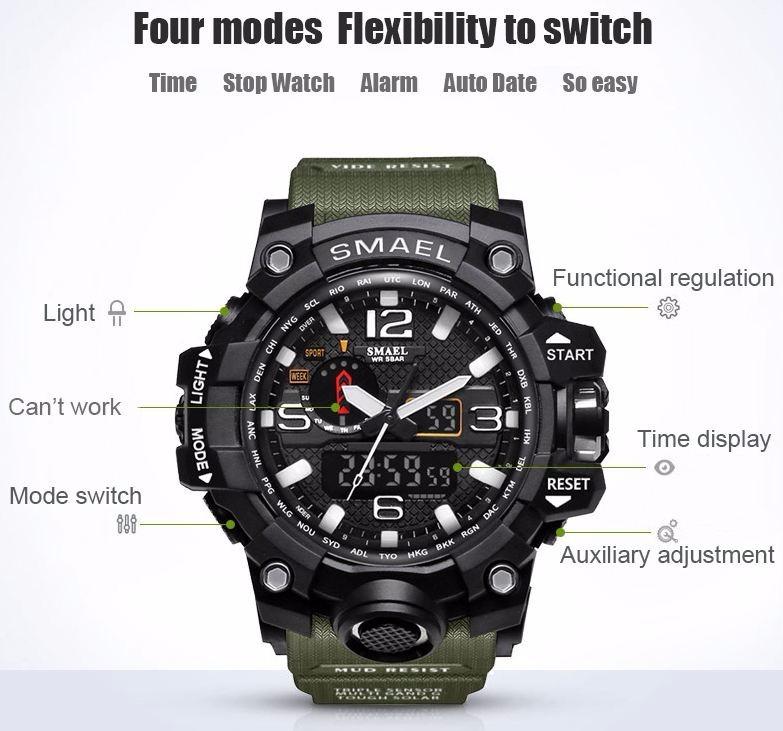d751370630d Relógio Masculino Militar Smael 1545 À Prova D água Promoção - R  89 ...