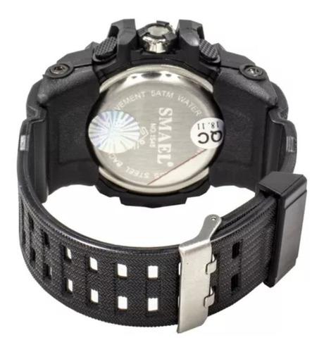 relógio masculino militar smael 1545 shock dual time +brind