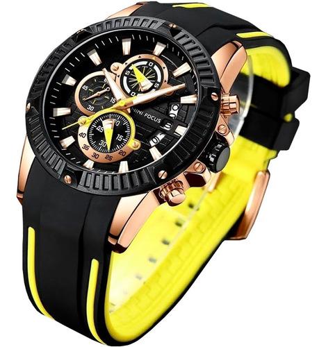 relógio masculino minifocus original importado prova d'água funcional com cronógrafo calendário e pulseira borracha top