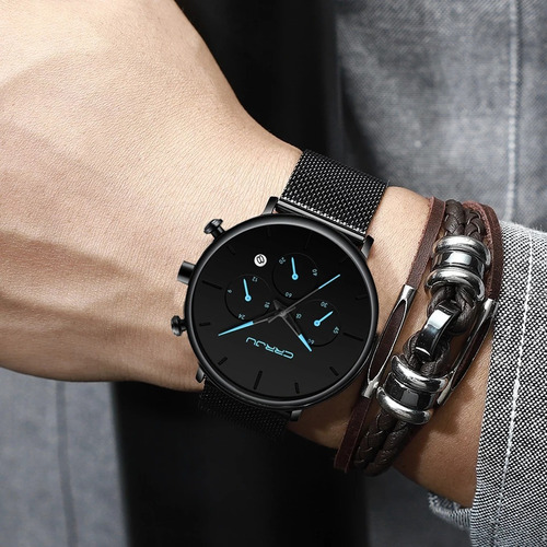 relógio masculino minimalista prova d'água - frete grátis
