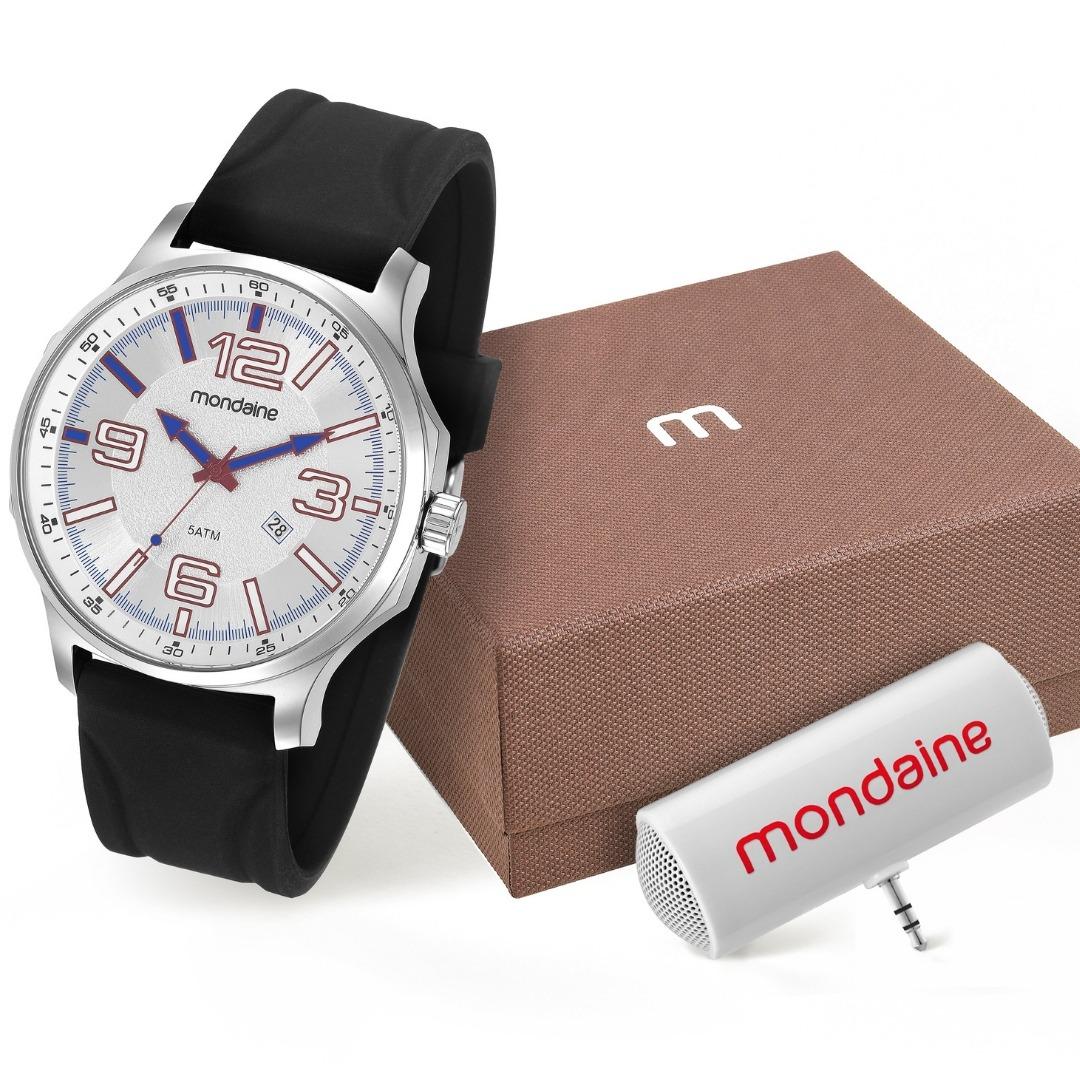 fe0fc73596c Relógio Masculino Kit Auto Falante Mondaine 83377g0mvni2k1 - R  188 ...