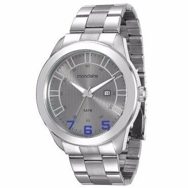 relógio masculino mondaine, analógico, pulseira de aço, 50m