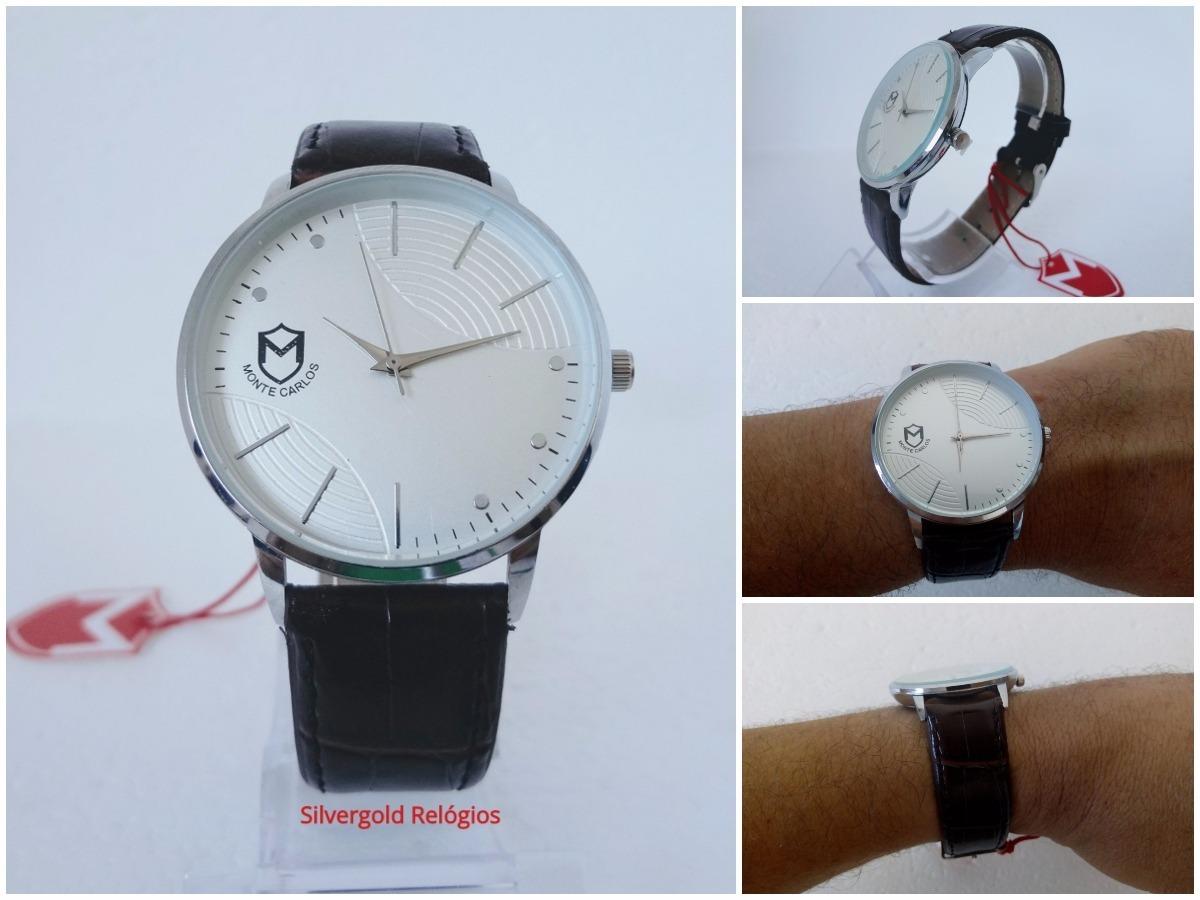 16045695895 relógio masculino monte carlos slim couro original 12x s j. Carregando zoom.