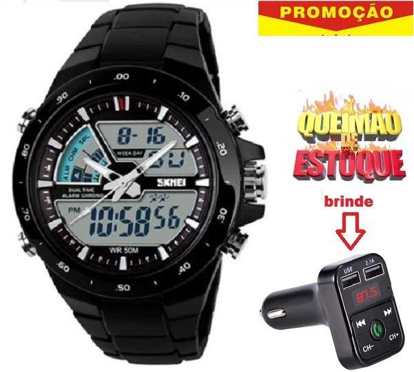 f154305a3c1 Relógio Masculino Na Promoção + Brinde Transmissor Fm Bleuto - R  120
