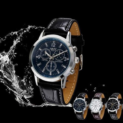 relógio masculino nary cronos pulseira de couro frete grátis