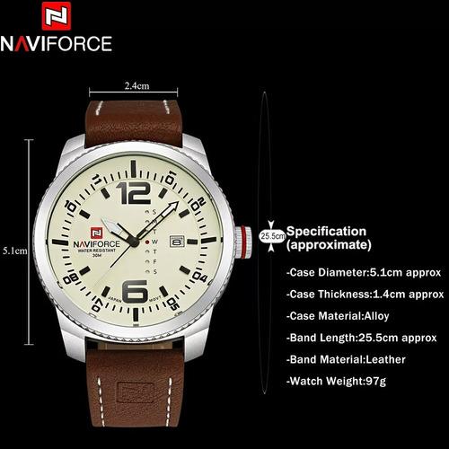relógio masculino naviforce 9063 luxo prova d'água promoção